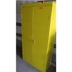 Large Yellow Metal Storage Cabinet w/ 4 Shelves