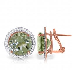 Genuine 10.40 ctw Green Amethyst & Diamond Earrings Jewelry 14KT Rose Gold - REF-120T5A