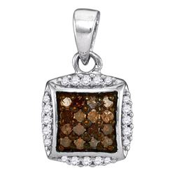 0.25 CTW Cognac-brown Color Diamond Square Cluster Pendant 10KT White Gold - REF-11F2N