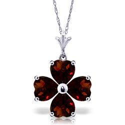 Genuine 3.8 ctw Garnet Necklace Jewelry 14KT White Gold - REF-42V2W