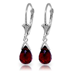 Genuine 4.5 ctw Garnet Earrings Jewelry 14KT White Gold - REF-22V7W