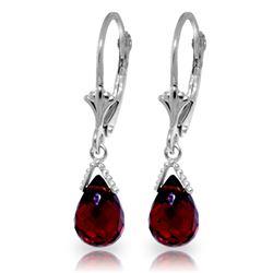 Genuine 4.5 ctw Garnet Earrings Jewelry 14KT White Gold - REF-22V7W