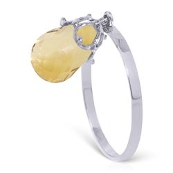 Genuine 3 ctw Citrine Ring Jewelry 14KT White Gold - REF-22V5W