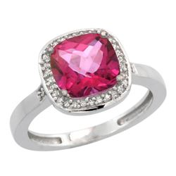 Natural 3.94 ctw Pink-topaz & Diamond Engagement Ring 14K White Gold - REF-38G3M