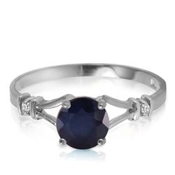 Genuine 1.02 ctw Sapphire & Diamond Ring Jewelry 14KT White Gold - REF-30N9R