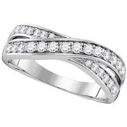 0.50 CTW Diamond Crossover Ring 14KT White Gold - REF-57K2W