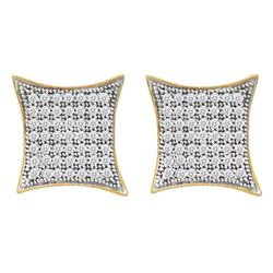 0.33 CTW Pave-set Diamond Square Kite Cluster Earrings 10KT Yellow Gold - REF-24X2Y
