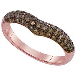 0.33 CTW Cognac-brown Color Diamond Chevron Ring 10KT Rose Gold - REF-26W9K
