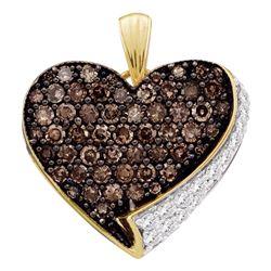 0.85 CTW Cognac-brown Color Diamond Heart Love Pendant 10KT Yellow Gold - REF-22Y4X