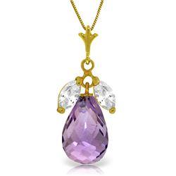 Genuine 7.2 ctw Amethyst & White Topaz Necklace Jewelry 14KT Yellow Gold - REF-30H5X
