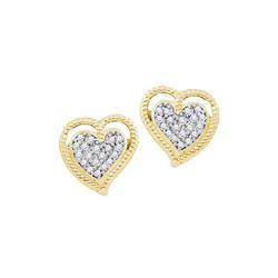 0.10 CTW Diamond Milgrain Heart Cluster Earrings 10KT Yellow Gold - REF-14K9W