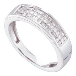 0.50 CTW Princess Invisible-set Diamond Triple Row Ring 14KT White Gold - REF-59Y9X