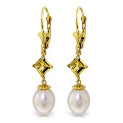 Genuine 9.5 ctw Pearl & Citrine Earrings Jewelry 14KT Yellow Gold - REF-24Z4N