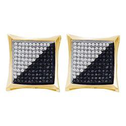 0.25 CTW Mens Black Color Diamond Square Kite Cluster Earrings 10KT Yellow Gold - REF-19F4N