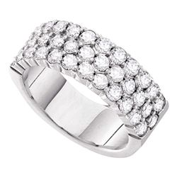 1 CTW Pave-set Diamond Triple Row Wedding Ring 14KT White Gold - REF-127W4K