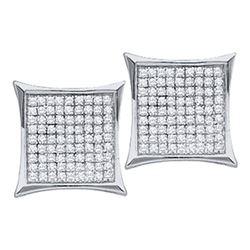 0.15 CTW Diamond Square Kite Cluster Earrings 14KT White Gold - REF-11F2N