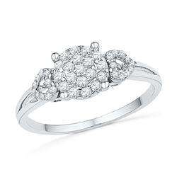 0.33 CTW Diamond Cluster Heart Ring 10KT White Gold - REF-28M4H