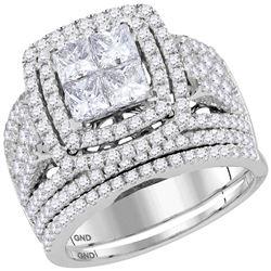 2.95 CTW Princess Diamond Cluster Halo Bridal Engagement Ring 14KT White Gold - REF-299K9W