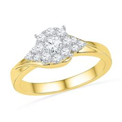 0.50 CTW Diamond Cluster Bridal Engagement Ring 10KT Yellow Gold - REF-52N4F