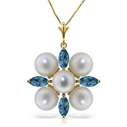 Genuine 6.3 ctw Blue Topaz & Pearl Necklace Jewelry 14KT Yellow Gold - REF-59Z2N