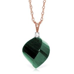 Genuine 15.3 ctw Green Sapphire Corundum & Diamond Necklace Jewelry 14KT Rose Gold - REF-31K4V