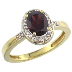 Natural 1.08 ctw Garnet & Diamond Engagement Ring 10K Yellow Gold - REF-25V5F