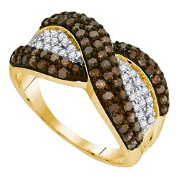 1 CTW Cognac-brown Color Diamond Crossover Ring 10KT Yellow Gold - REF-34X4Y