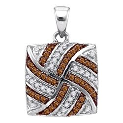0.25 CTW Cognac-brown Color Diamond Square Pendant 10KT White Gold - REF-16K4W