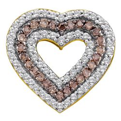 0.76 CTW Cognac-brown Color Diamond Heart Outline Pendant 14KT Yellow Gold - REF-59M9H