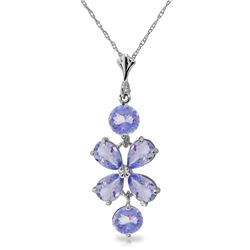 Genuine 3.15 ctw Tanzanite Necklace Jewelry 14KT White Gold - REF-45R5P