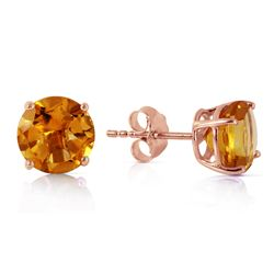 Genuine 3.1 ctw Citrine Earrings Jewelry 14KT Rose Gold - REF-23T9A