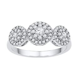 0.50 CTW Diamond Triple Cluster Fashion Ring 10KT White Gold - REF-46X4Y