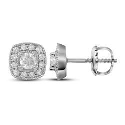 0.37 CTW Diamond Solitaire Square Earrings 14KT White Gold - REF-41K9W