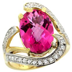 Natural 6.22 ctw pink-topaz & Diamond Engagement Ring 14K Yellow Gold - REF-134N9G