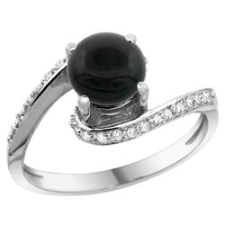Natural 0.88 ctw onyx & Diamond Engagement Ring 14K White Gold - REF-51W4K