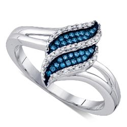 0.10 CTW Blue Color Diamond Cluster Ring 10KT White Gold - REF-22H4M