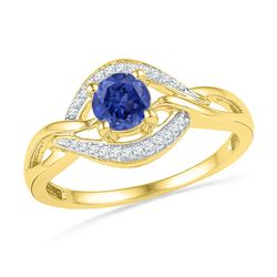 0.60 CTW Created Blue Sapphire Solitaire Woven Ring 10KT Yellow Gold - REF-18H2M