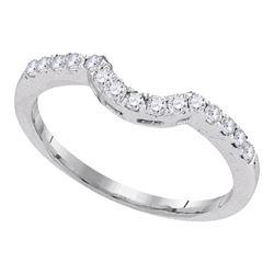 0.28 CTW Diamond Curved Wedding Ring 14KT White Gold - REF-30K2W