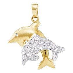 0.13 CTW Diamond Double Dolphin Fish Animal Pendant 10KT Yellow Gold - REF-18K2W