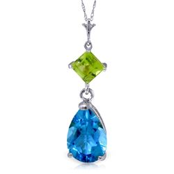 Genuine 2 ctw Blue Topaz & Peridot Necklace Jewelry 14KT White Gold - REF-24R3P