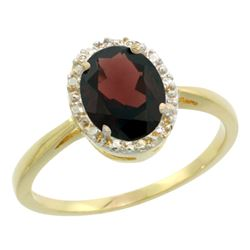 Natural 1.22 ctw Garnet & Diamond Engagement Ring 10K Yellow Gold - REF-20H9W