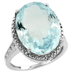 Natural 13.6 ctw Aquamarine & Diamond Engagement Ring 14K White Gold - REF-236X2A