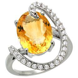 Natural 5.89 ctw Citrine & Diamond Engagement Ring 14K White Gold - REF-91W4K