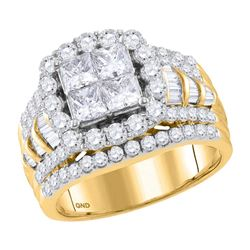 2.99 CTW Princess Diamond Cluster Bridal Engagement Ring 14KT Yellow Gold - REF-344Y9X
