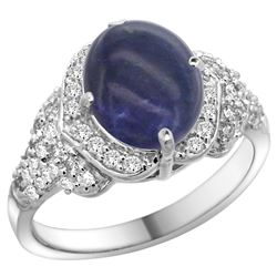 Natural 3.02 ctw lapis-lazuli & Diamond Engagement Ring 14K White Gold - REF-100V9F
