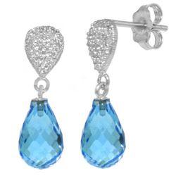 Genuine 4.53 ctw Blue Topaz & Diamond Earrings Jewelry 14KT White Gold - REF-25X6M