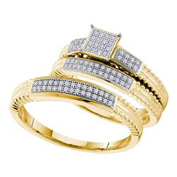 0.25 CTW His & Hers Diamond Cluster Matching Bridal Ring 10KT Yellow Gold - REF-41N9F