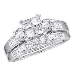 0.50 CTW Princess Diamond Bridal Engagement Ring 10KT White Gold - REF-37H5M