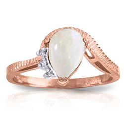 Genuine 0.79 ctw Opal & Diamond Ring Jewelry 14KT Rose Gold - REF-52F3Z