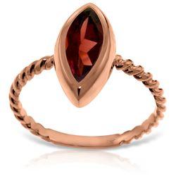 Genuine 2 ctw Garnet Ring Jewelry 14KT Rose Gold - REF-39Y3F
